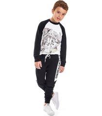 camiseta livy inverno skateboarding branco/preto