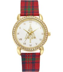 holiday lane holiday tree plaid strap watch 36mm, created for macy's