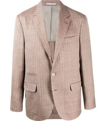 brunello cucinelli silk single-breasted fitted blazer - brown