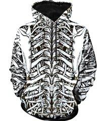 3d skeleton print drawstring hoodie