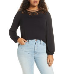plus size women's halogen lace detail long sleeve knit top