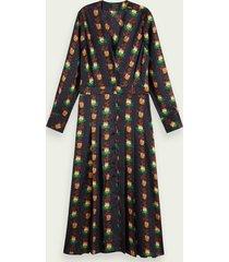 scotch & soda midi-jurk met lange mouwen en bloemenprint