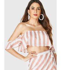 yoins top corto de manga corta con hombros descubiertos y rayas rosas