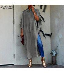 zanzea mujeres batwing manga corta larga camisa de vestir de alta dividir jumper tapas de la blusa plus -gris