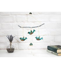 ceramiczne ptaki w locie - boho dekoracja ścienna