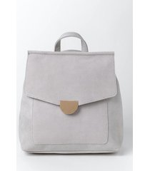 perry suede front flap backpack - gray