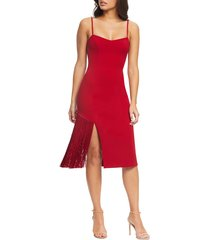 women's dress the population rory midi dress, size medium - red