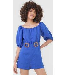 macaquinho linho colcci fãvela azul - azul - feminino - linho - dafiti
