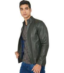chaqueta en cuero napa cuello alto slim fit para hombre 97518