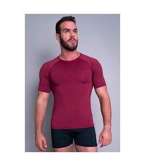 camisa térmica mvb modas masculina manga curta segunda pele vinho