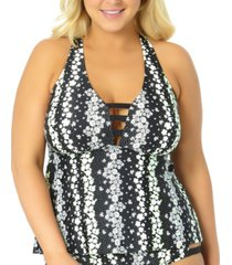 california waves trendy plus size strappy floral tankini top, created for macy's women's swimsuit