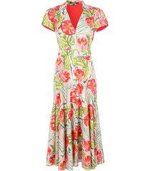 badgley mischka floral belted shirt dress - multicolour