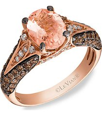 le vian chocolatier® 14k strawberry gold®, peach morganite™, chocolate diamonds® & vanilla diamonds® ring