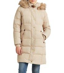 women's lauren ralph lauren faux fur trim down puffer coat, size x-large - white