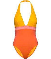 colour block plunge swimsuit baddräkt badkläder gul french connection