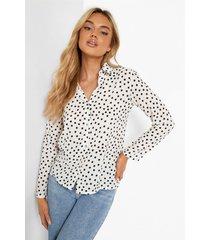 getailleerde blouse met stippen, ivory