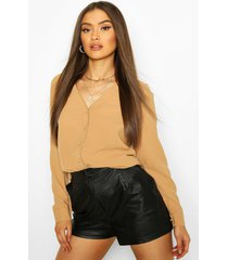 blouse met v-hals, kameel