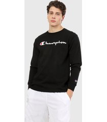 camiseta manga larga negro-blanco champion classic graphic long sleeve tee