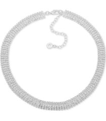 """anne klein silver-tone rhinestone collar necklace, 16"""" + 3"""" extender"""