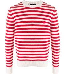 acne studios suéter decote careca com listras - vermelho