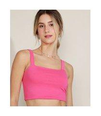 top cropped feminino alça média decote reto pink
