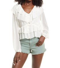 women's guess marene ruffle blouse, size large - ivory