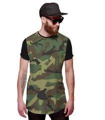 camiseta di nuevo longline swag camuflada verde exército preta