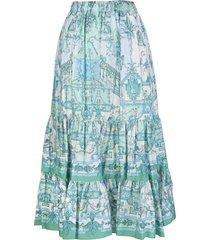 etro maxi skirt with aquamarine foulard print