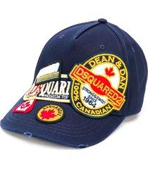 dsquared2 logo patchwork cap - blue