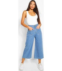 tall denim front pocket culottes, light blue