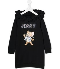 monnalisa jerry embroidery hooded dress - blue