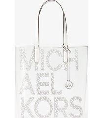 mk borsa tote themichael grande trasparente con logo - combo bianco (bianco) - michael kors