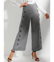 pantalón de cintura alta gris con botones anchos yoins