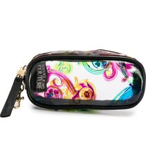 versace jeans couture baroque print clip-on pouch - black