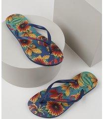 chinelo feminino havaianas slim estampado floral azul marinho