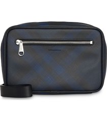 burberry london check travel pouch - blue
