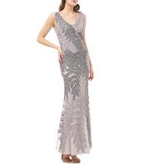 women's js collections leaf soutache trumpet gown, size 14 - metallic