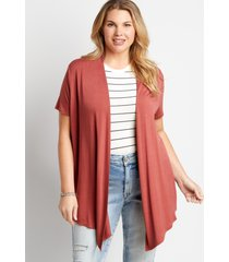 maurices plus size womens solid short sleeve open front cardigan red