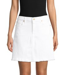 7 for all mankind women's denim a-line skirt - white - size 24 (0)