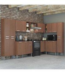 cozinha completa com armário e balcão com tampo 8 peças pequim rock multimóveis carvalho avelã