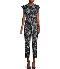 rebecca taylor sleeveless paisley silk-blend jumpsuit - black combo - size 0