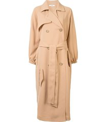 tibi twill belted trenchcoat - brown