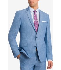 bar iii men's slim-fit blue chambray suit jacket, created for macy's