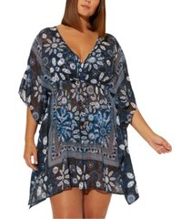 bleu by rod beattie plus size take a dip printed caftan cover-up women's swimsuit