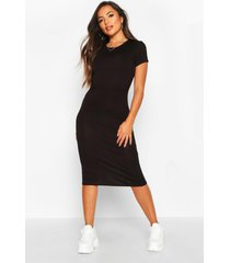 petite basic cap sleeve midi dress, black
