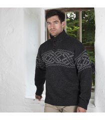 mens celtic knot sweater charcoal xl
