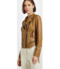jaqueta de couro motor textura mel - 42