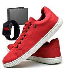 kit tênis sapatênis casual fashion com carteira e relógio led dubuy 940el vermelho
