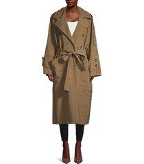 proenza schouler women's manzoni textured oversized coat - dark khaki - size 0
