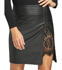 black lace insert zip front faux leather skirt